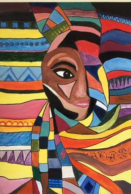 Gemälde aus dem Ölmalkurs der Kunstschule des Kunstvereins Achim e.V. |Ornamentik mit afrikanischen Anklängen