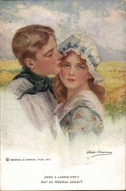 12154画家ポストカード、泣いている少女
