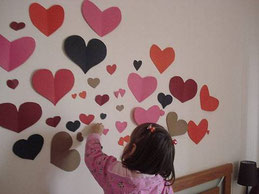 decoracion papel corazones