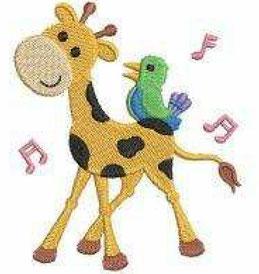 Giraffe mit Vogel