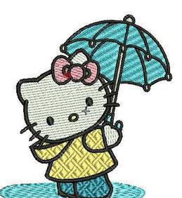 Hello Kitty mit Schirm