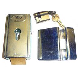 Cerradura eléctrica VIRO postigo vertical + cilindro para motorización de rueda de AKIA France System