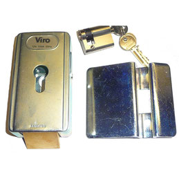 VIRO electric lock with vertical latch + cylinder for AKIA France System's wheeled motor drive