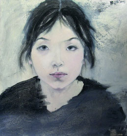 纪录肖像6 DIARY PORTRAIT VI 60X60CM 布面油画 OIL ON CANVAS 2005 (收藏于香港 COLLECTED IN HONG KONG)
