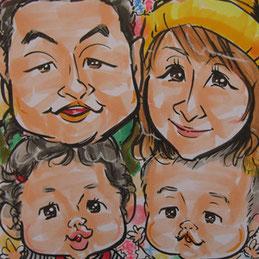 家族やファミリーに人気の似顔絵