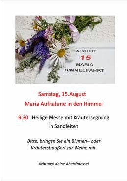 Einladung zur Kräuterweihe am 15.August 2020 (PDF)