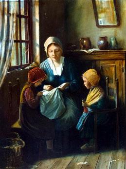"""Knausz """"Mutter mit Kindern bei der Handarbeit"""""""