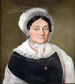 """Maler des 19. Jahrhunderts: """"Brustbild einer Dame mit Spitzenhäubchen"""""""