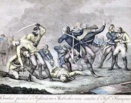 Französischer Graphiker des 18. Jh : Schlachtenszene