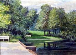 """Wilhelm Mergenthaler ( Maler des 20. Jhs.), """"Partie aus Schwetzingen"""""""