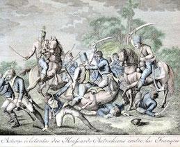 Französischer Graphiker des 18. Jh: Schlachtenszene