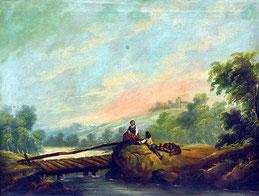 Deutscher Maler des 19. Jhs. :  Personen am Fluss
