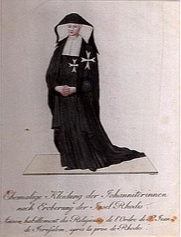 Ehemalige Kleidung der Johanniterinnen nach der Eroberung der Insel Rhodos