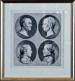Vier Porträtköpfe (nach D. Chodowiecki) Johann Heinrich Lips (1758 - 1817)