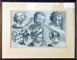 Johann Daniel Hertz (1693 - 1754): Sechs Studien zu Puttenköpfen