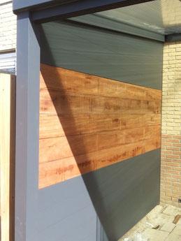 zijwand tuinkamer hout en aluminium