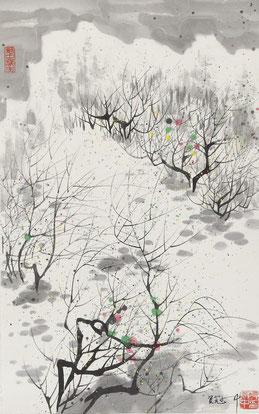 "Nach Wu Guanzhong, ""Frühling"", Tusche auf Papier, 53 x 33 cm"
