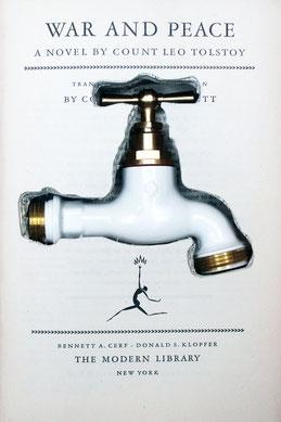 Oeuvre d'art de Laurent Valera sur le manque d'eau en Afrique du Sud. Robinet caché dans le roman Guerre et Paix de Tolstoy