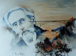 Paul Bodin et son oeuvre (aquarelle)