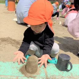 砂のタワーができたよ