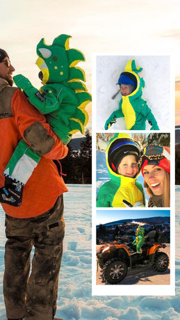 Funwear, snowsuit, kids fashion, dinosaur suit, overall, dragon costume