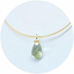 Anhänger Prasiolith Tropfen Gelbgold Edelstein hellgrün grün Drop Pendant Gold green