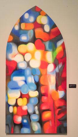 Mary Chaplin, La lumière du nulle part, huile, châssis de forme ogivale, 100 x 80 / photo JH