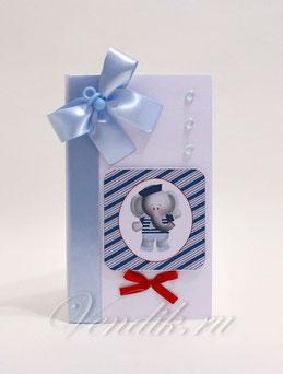 Открытка ручной работы и торт из памперсов- подарок для новорожденного мальчика