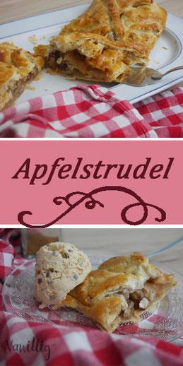 Apfelstrudel, Apfel, Dessert, back Rezept, Rezept mit äpfeln, Apfelkuchen