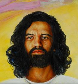 Das Gesicht von Jesus Christus mit schwarz wallendem Haar
