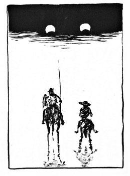 Don Quijote und Sancho Pansa mißtrauisch von oben beäugt