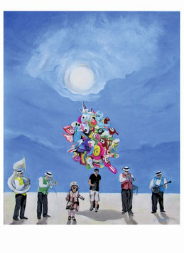 Peter Albach, Dixieland Band vor blauem Himmel, Mann mit Luftballon, Sonnenschein, kleines Mädchen freut sich
