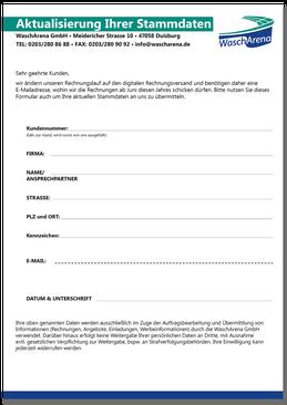 Stammdatenblatt, DIN A4