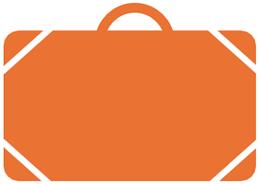 Illustration eines orangen Koffers als Symbol für «Kompetenz Destinatorum».