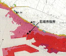 新庁舎建設基本構想案から削除された津波浸水予想図。着色された地域に津波の浸水が予想されている