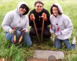 Jennifer Cook (from left), Stephanie Bieschke, and Sarah Medina find Civil War veteran's headstone at Barber  Cemetery