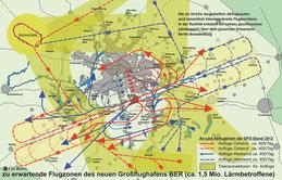 Zu erwartende Flugzonen des Großflughafens BER, Quelle: BI Friedrichshagen (FBI), 2012