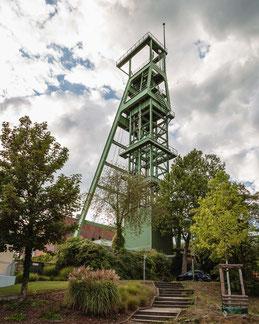 Fördergerüst auf der Zeche Heinrich, Essen, Ruhrgebiet, Deutschland, Industriekultur, Industrie, Zechen, Bergbau, Steinkohle