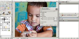The user interface of GIMP, a free alternative to Photoshop