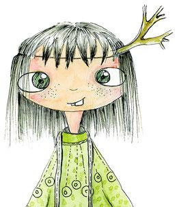 Kleines Mädchen, zauberhaft gezeichnet, Titelfigur von Hanne sucht Freunde