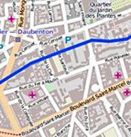 La Bièvre et la rue de la Collégiale (à gauche)
