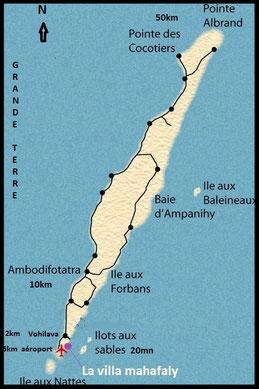 Carte de Sainte-Marie Madagascar et la villa Mahafaly