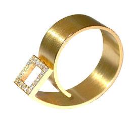 Brillantring in 18ct Gold  in Schneckenform von Bianca Kazor