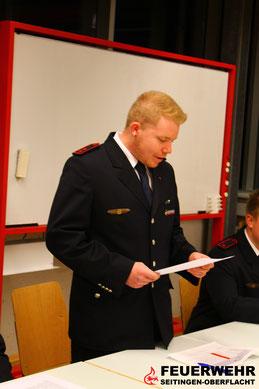 Stellv. Jugendwart Manuel Bauer bei seinem Bericht.