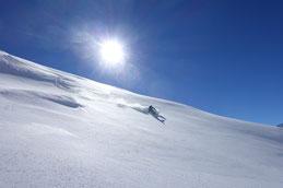 Freerideabfahrt vom Skigebiet Disentis 3000