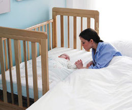 Bedside cot, easier for night feeds, and with an adjustable height base it can be used as a cot in the babies nursery!