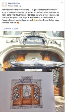 Rouen, ville de Rouen, Hotel de ville, aquarelle, aquarelle miniature, tourisme, normandie, carte postale, deconihout, droguerie, dame cakes, rue du gros horloge, gros horloge, tourisme rouen, rouen tourisme