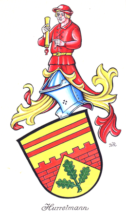 Familienwappen Hurrelmann, eingetragen in die Deutsche Wappenrolle des Herolds, Berlin