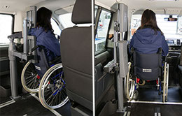 Person in wheelchair behind the steering wheel of a minivan. Powered head and backrest eFutureSafe is operated at the push of a button.