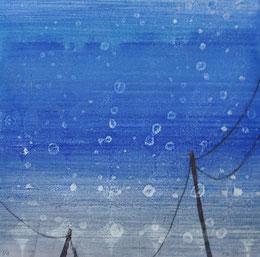 Across the skyⅢ 木版モノタイプ 19×19
